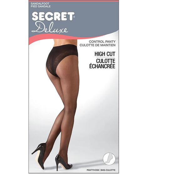 Secret Deluxe High Cut Lace Control Top Panty Hose - A - Black