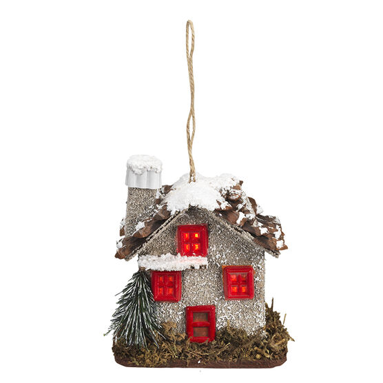 Wild Berries LED Log Cabin Ornament - 3.2in