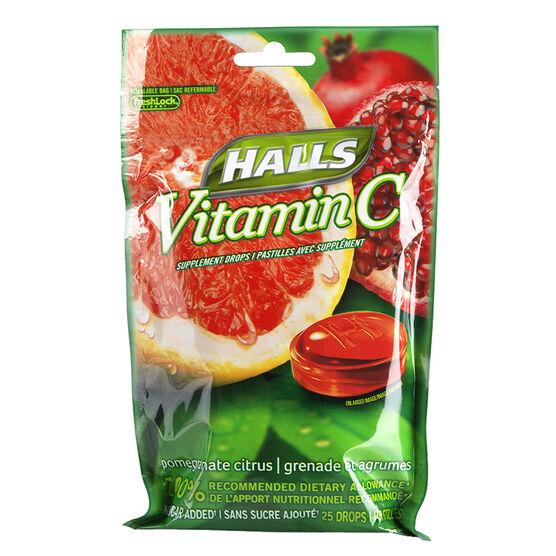 Halls Vitamin C No Sugar Added - Pomegranate Citrus - 25's