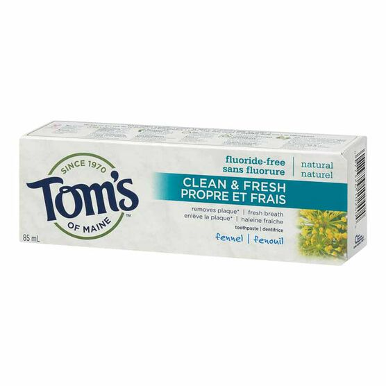 Tom's of Maine Natural Antiplaque Toothpaste - Fluoride-Free - Fennel - 85ml