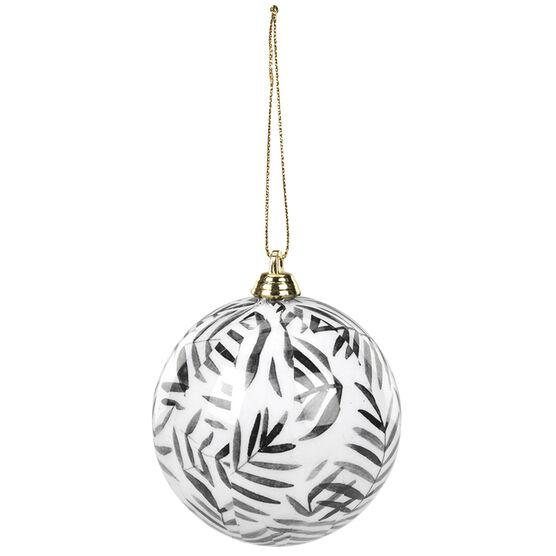 Christmas Leaf Pattern Ball Ornament - 7.5cm