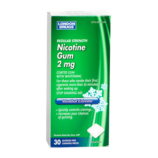 London Drugs Regular Strength Nicotine Gum 2mg - Menthol Extreme - 30's