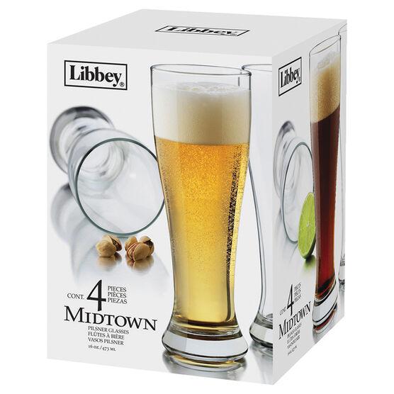 Libbey Midtown Pilsner Glasses - Set of 4 - 16 oz/473ml