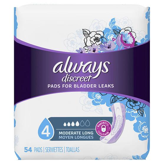 Always Discreet Pads Moderate Long Length - 54's