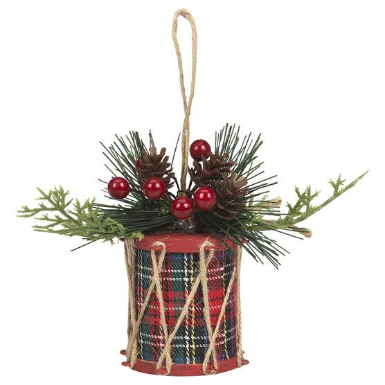 Christmas Tartan Drum Ornament - 4.5in