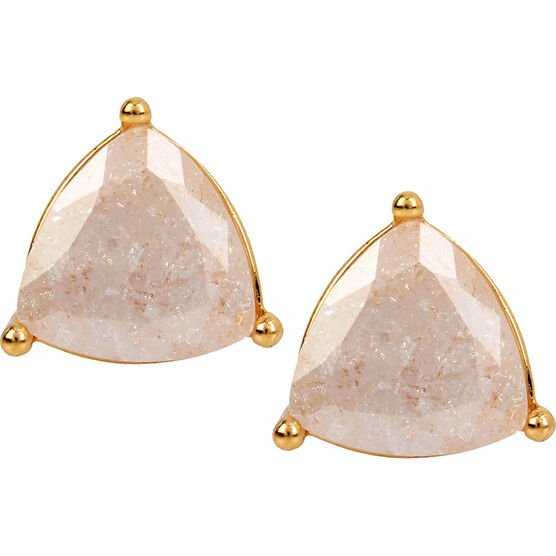 Haskell Stone Stud Earrings - White/Gold