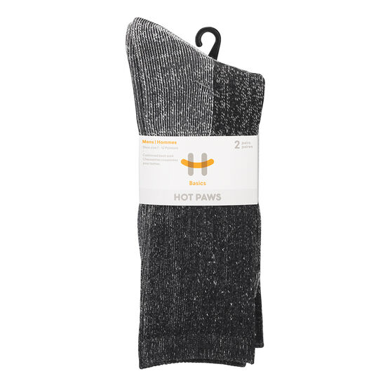 Hot Paws Basics Thermal Socks - Black - 2 Pairs - Men's