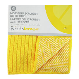 Fresh Lemon Microfibre Scrubber Dish Cloth - Assorted - 4 pack