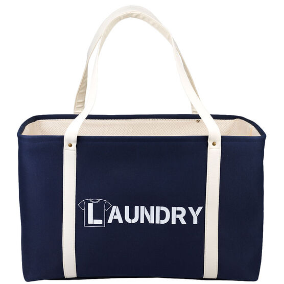 London Drugs Canvas Laundry Bag - Navy and White