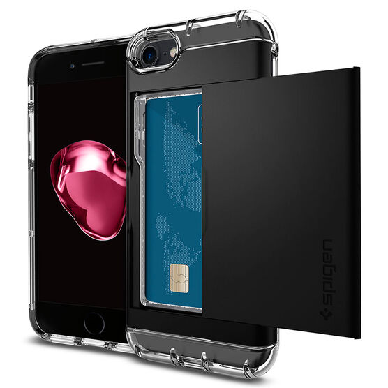 Spigen Crystal Wallet Case for iPhone 7 - Black - SGP042CS20981