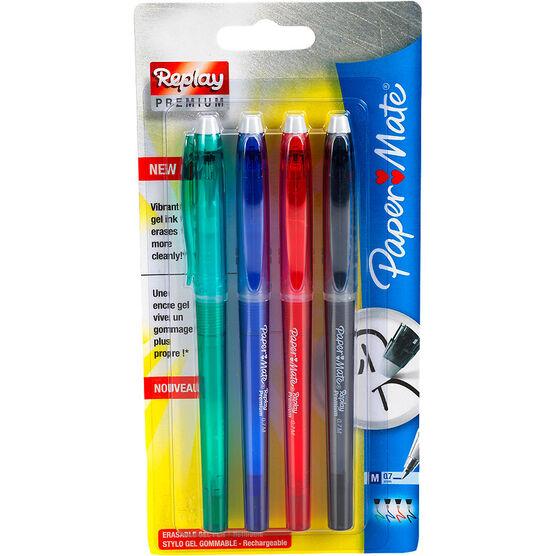 Paper Mate Replay Premium Erasable 0.7mm Gel Pens - Business Colours - 4 pack