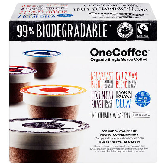 OneCoffee Organic Single Serve Coffee Pods - Variety Pack - 12 Servings