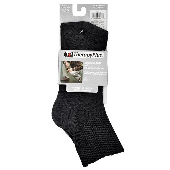 TherapyPlus Men's Diabetic Quarter Socks - Shoe Size 7-12 - Black - 2 pairs