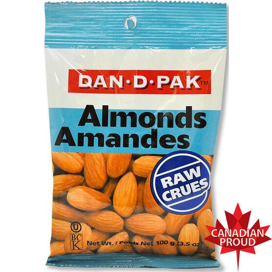 Dan-D-Pak Raw Almonds - 100g