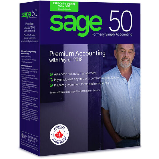 Sage 50 Premium Accounting with Payroll: Canadian Edition - 2018 - CPRMPS2018RT