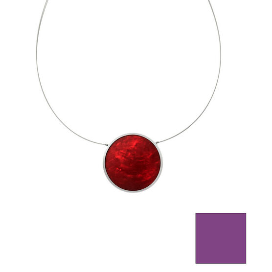 Merx Reversible Circle Resin Shell Wire Necklace - Violet/Red