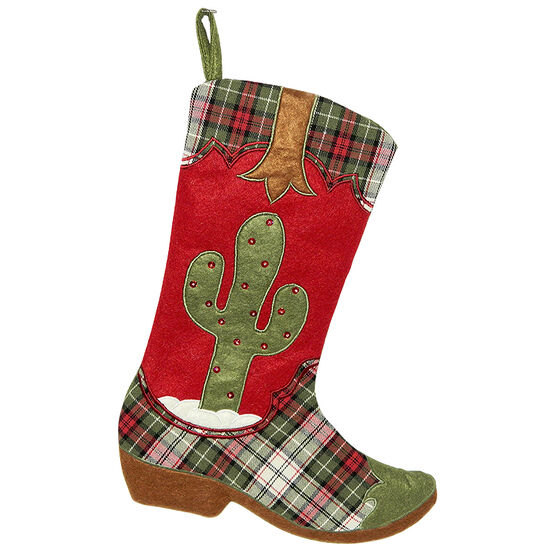 Christmas Forever Cowboy Boot with Cactus Stocking - 18.5in - Red - XM-US2743