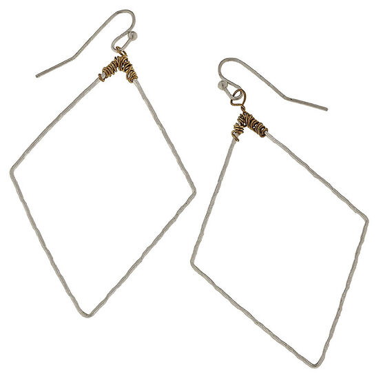 Canvas Hammered Diamond Earrings - Gold/Silver