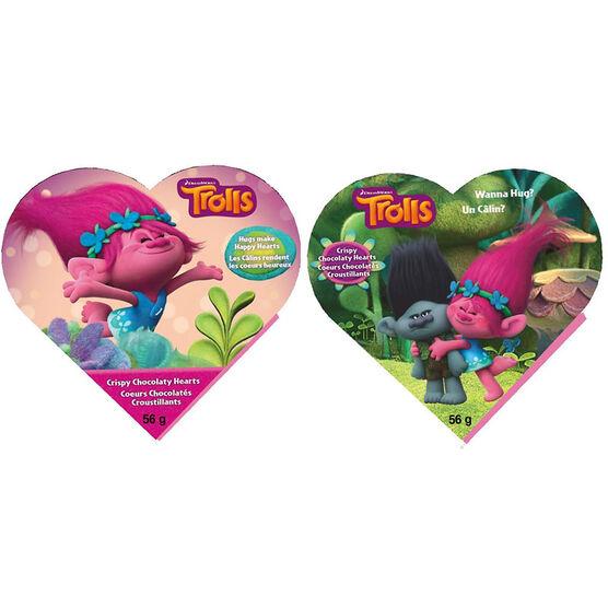 Trolls Crispy Chocolate Hearts - Assorted - 56g