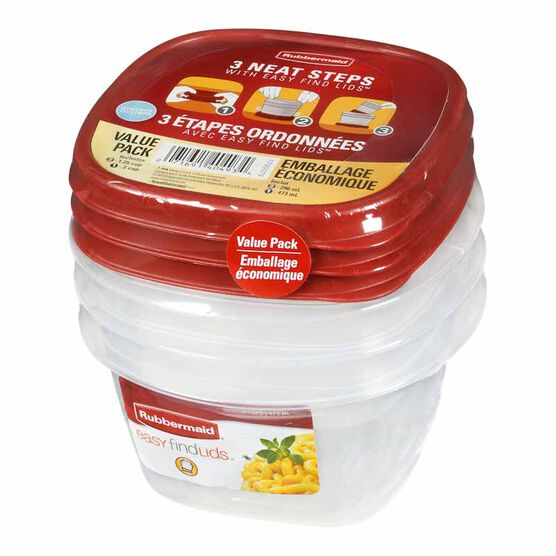 Rubbermaid Square Produce Saver Container - 3 piece - Small - 7J94