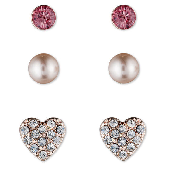 Lonna Lilly Trio Stud Earring Set - Rose Gold