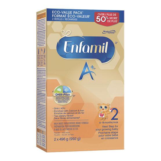 Enfamil A+ 2 Powder Infant Formula Refill - 2 x 496g