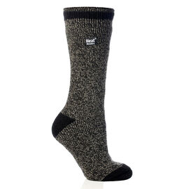Heat Holders Ladies Twist Crew Sock - Black/Grey