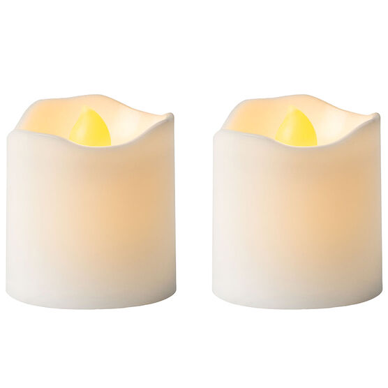 Plastic Flameless Votive - Unscented - White - 2 pack