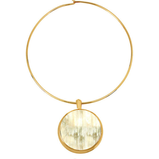 Robert Lee Morris Round Wire Pendant Necklace - Horn/Gold