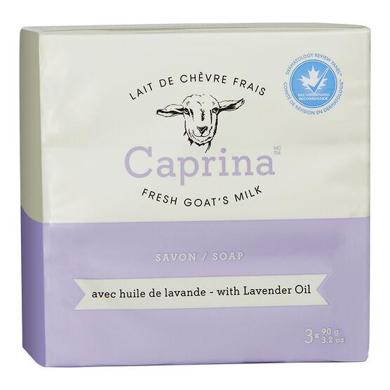 Caprina by Canus Fresh Goat's Milk Soap - Lavender Oil - 3 x 90g