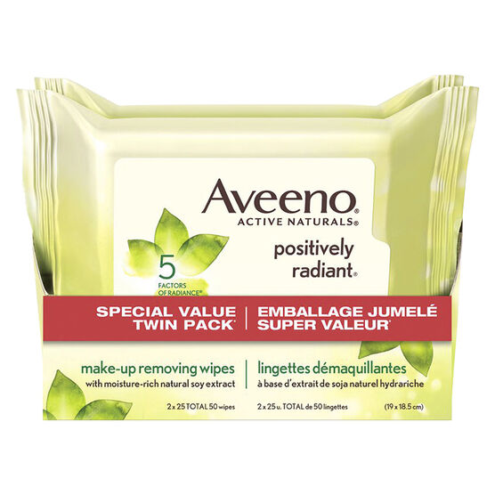 Aveeno Active Naturals Positively Radiant Make-Up Removing Wipes - 2 x 25's