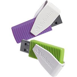 Verbatim 16GB Swivel USB Flash Drive - 2 pack - Green/Violet