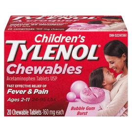 Tylenol* Children's Chewable Tablets Bubble Gum Burst - 160mg - 20's
