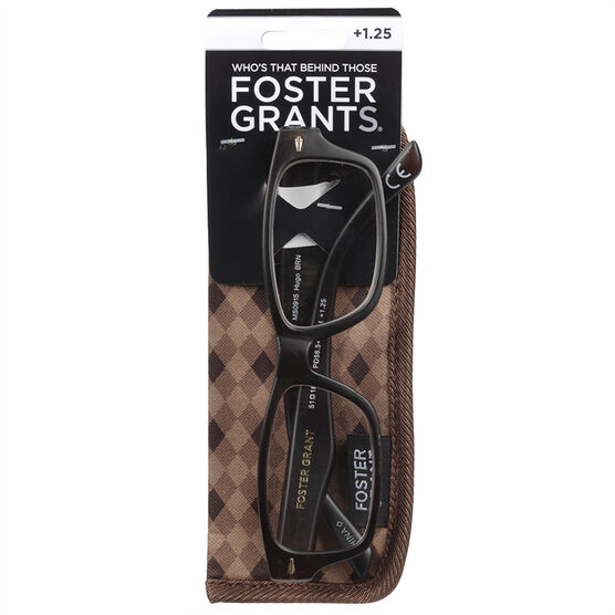 Foster Grant Hugo Brown Reading Glasses with Case - 1.25