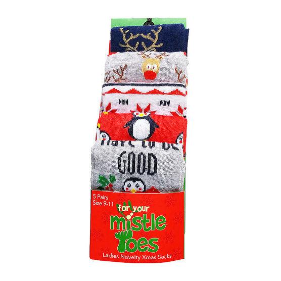 Mistle Toes Ladies Christmas Socks - 9-11 - Cute