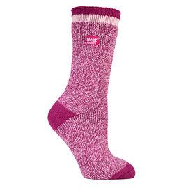 Heat Holders Ladies Twist Crew Sock - Berry/Light Pink