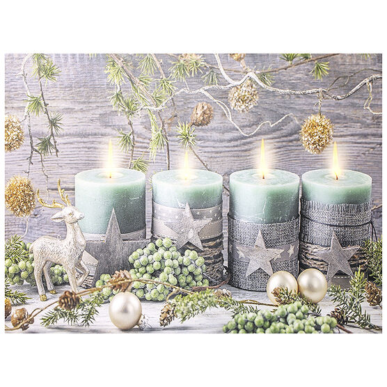 Christmas Forever LED Canvas - Candles - 12 x 16in