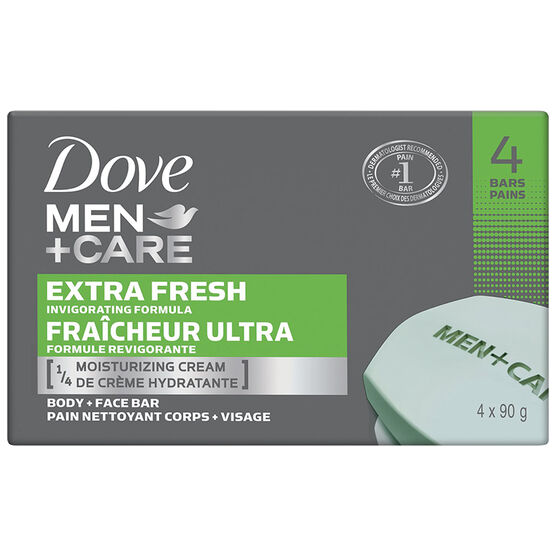 Dove Men +Care Extra Fresh Invigorating Formula Body & Face Bar - 4 x 90g