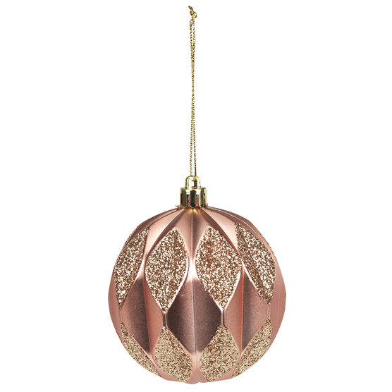 Rose Gold Jester Ball Ornament - 8cm