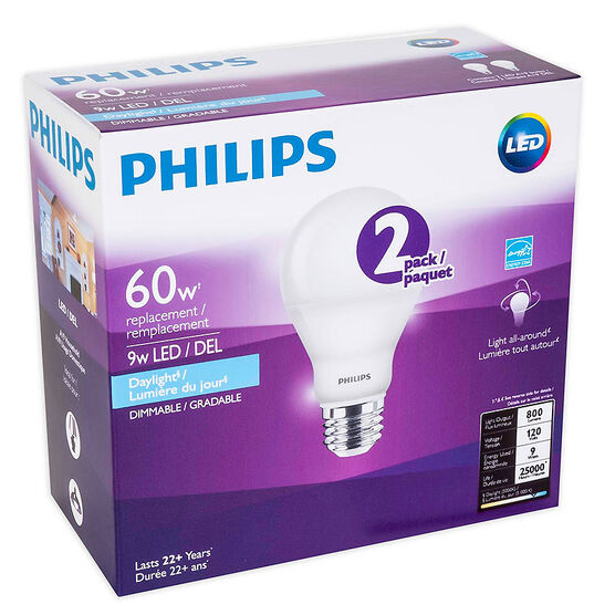 Philips A19 LED Replacement Bulb - Daylight - 60W/2 pack