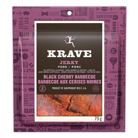 Krave Pork Jerky - Black Cherry Barbecue - 75g