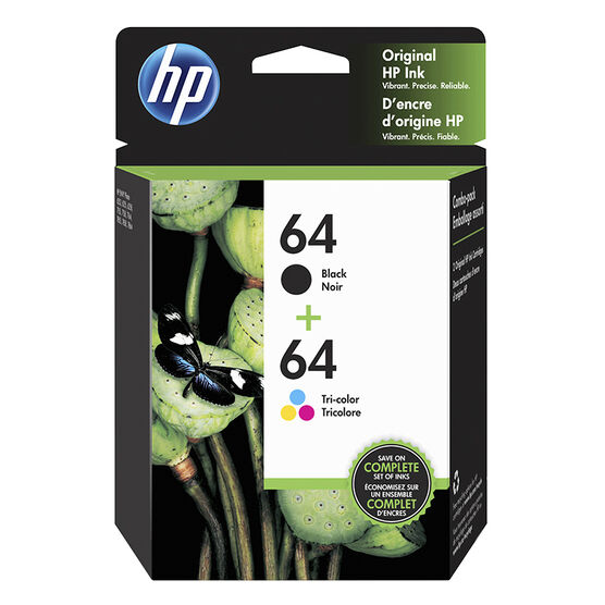 HP 64 Black and Tri-Colour Combo Printer Ink Cartridges