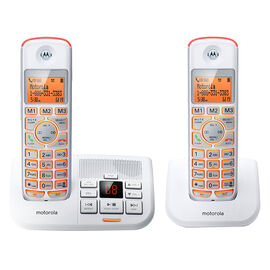 Motorola 2 Handset Cordless Phone with Answering Machine - White - K702