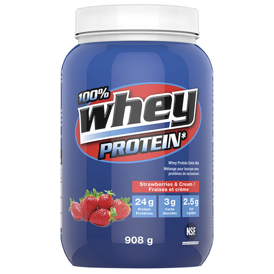 100% Whey Protein Powder - Strawberry - 908g