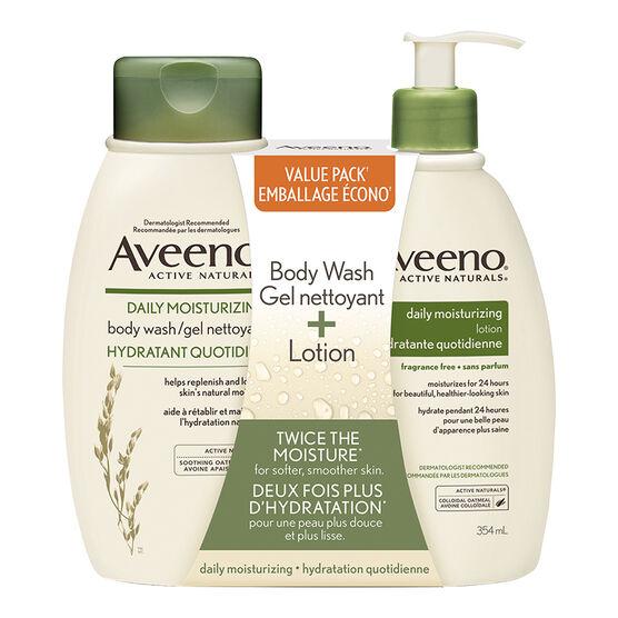 Aveeno Active Naturals Daily Moisturizing Body Wash & Lotion - 2 x 354ml