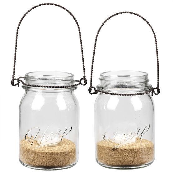 Sarah Peyton Hanging Mason Jar with Candle Holder