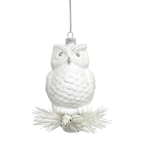 Wild Berries Glass Owl Ornament - White - 3.5 x 4in