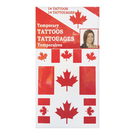 Canada Flag Temporary Tattoos - 14 pack