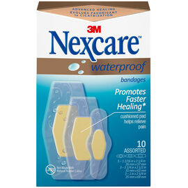 3M Nexcare Waterproof Bandages - Assorted - 10's