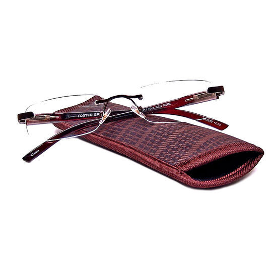 Foster Grant Rick Reading Glasses with Case - Brown - 2.00